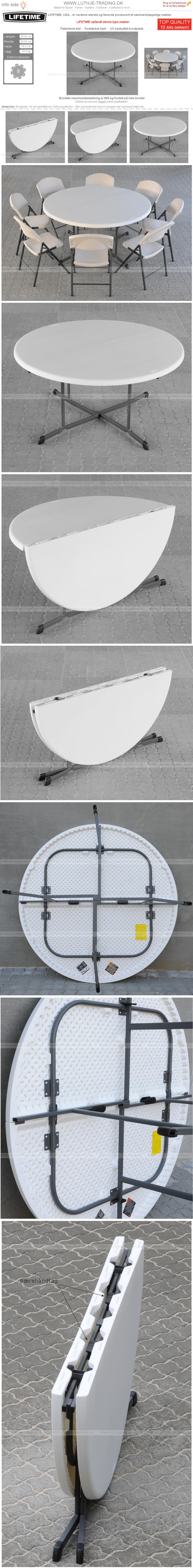 Runde borde fold Lifetime Ø153 cm.